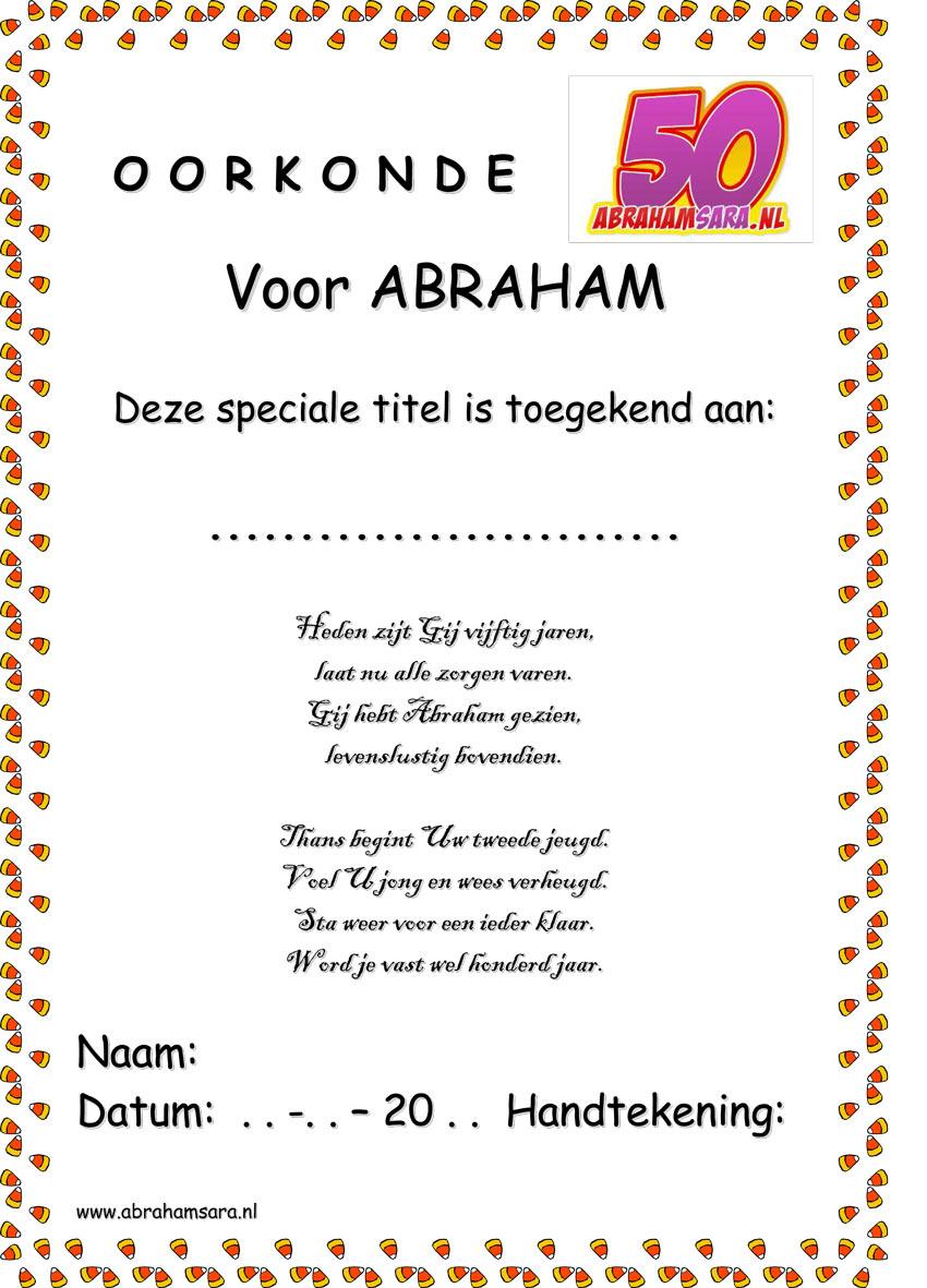 Super Abraham Sarah tekst oorkonde sjabloon voor 50 jaar Sara voorbeeld  FK47